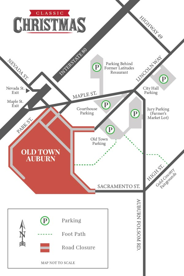 Old Town Auburn Classic Christmas Parking Map