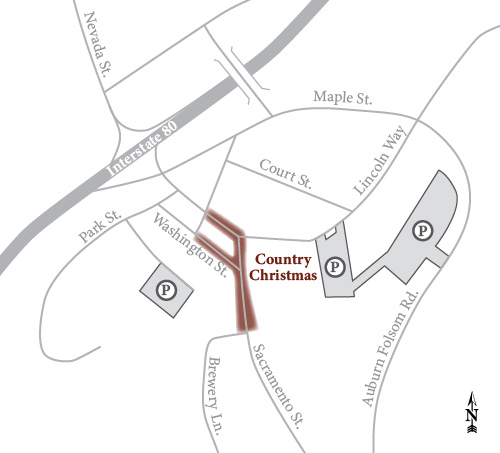 Old Town Auburn Country Christmas Parking Map