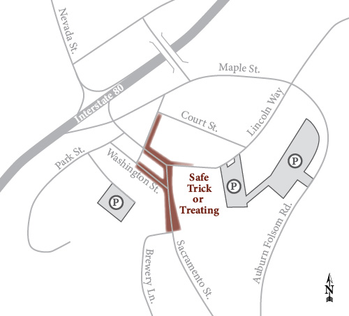 Old Town Auburn Safe Trick-or-Treating Parking Map